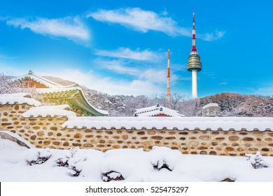 Namsan Tower is covered by snow in winter,South Korea