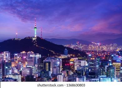 Namsan Tower and Seoul city skyline, South Korea