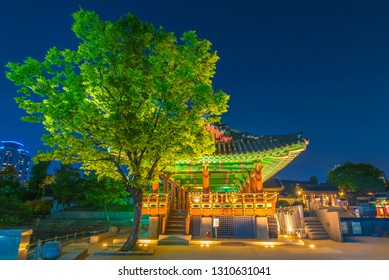 Namsangol Hannok Village and Seoul Tower Located on Namsan Mountain at night view of Seoul Tower,South Korea.