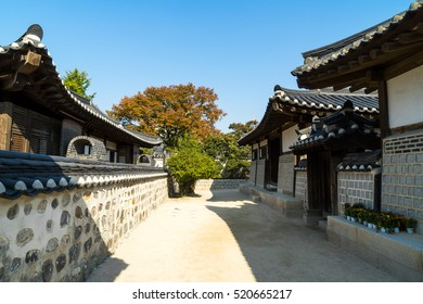 Namsangol Hanok Village during autumn, A Village of Traditional Houses in the Namsan Valley