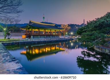 Namsangol Hanok Village and Seoul Tower background, Seoul, South Korea.