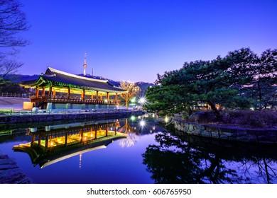 Namsangol Hanok Village. South Korea,Soft focus