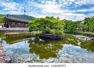 namsangol hanok village in summer at seoul korea:8 july 2018