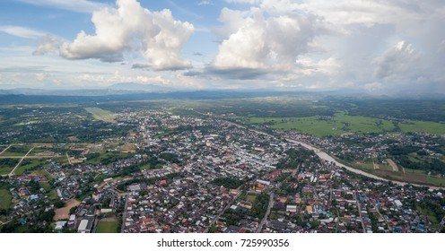 Nan city, Thailand. Panoramic aerial shot of Nan, the ancient city in the northern part of thailand along with the Nan river, the main river of thailand from the north