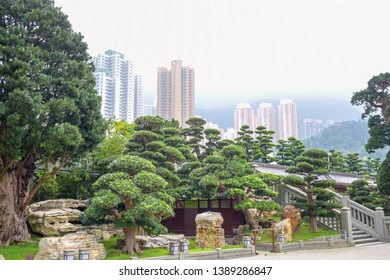 Nan Lian Garden, a Chinese classical garden in Diamond Hill with hills,  trees, rocks and wooden structures, Hong Kong