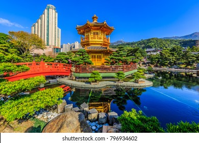 Nan Lian garden, Chinese classical garden, Golden Pavilion of Perfection in Nan Lian Garden, Hong Kong.