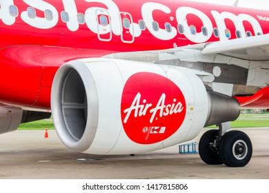 Nan province, THAILAND - May 30, 2019 - Airplane engine, fan blades and rotor closeup at Nan airport, Nan province, Thailand on May 30, 2019.