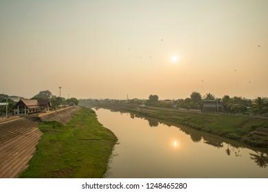Nan River flows through the community, The city of Nan, Thailand.