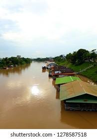 Nan river. houseboat in nan river. Phitsanulok Province. Thailand.