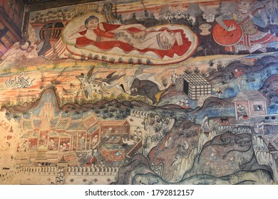 Nan, THAILAND - 26 July 2020 : Ancient mural painting in the main chapel of Nong Bua temple in Nan province.