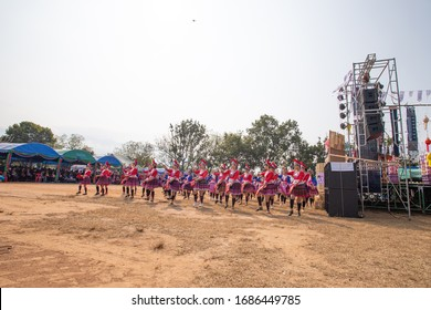 Nan, Thailand, Dec 28, 2019 - Group of Hmong girl dancing on Hmong new year 2020 opening ceremony