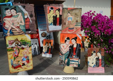Nan, Thailand - Jan 17, 2015 - Many pictures of couples on the mural from 'Phumin temple' is very famous and  likely to be the symbol of Nan province