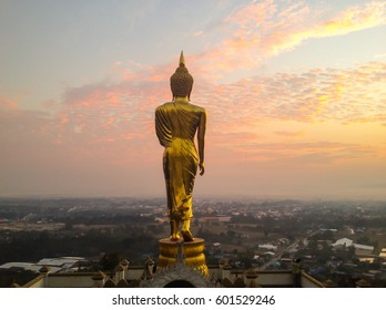 Nan, Thailand - Jan 17, 2017 - Wat Phra That Kao Noi at Nan, Thailand. Nan province with Buddha statue on Mountaintop in morning sunrise