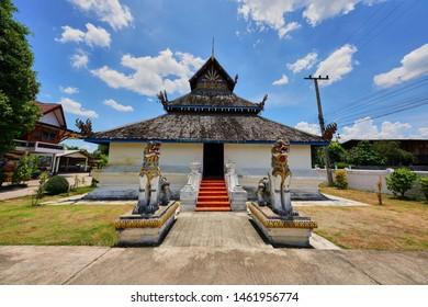 Nan, Thailand - July 18, 2019 : Ancient Thai Lanna temple at Wat Ton Laeng, Pua District, Nan