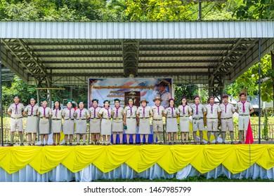 Nan, Thailand, July 28,2019: Thai scouts parade at Chaloem Phra Kiat  Provincial Stadium.July 28, 2019 Birthday anniversary Long live His Majesty the King Birthday anniversary.