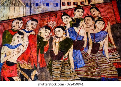 NAN, THAILAND - MARCH 17,2016 : Thai style painting art on temple wall on March 17,2016 at Wat Phumin in Nan Province, Northern Thailand.