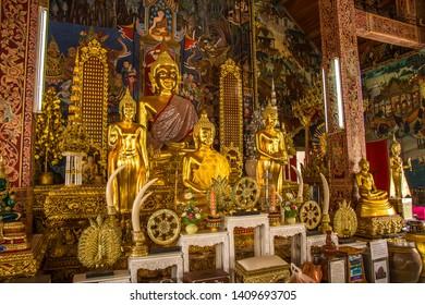 NAN, THAILAND - May 18, 2019: Beautiful buddha statue at Wat Ming Mueang and Nan City Pillar Shrine, Nan, Thailand.