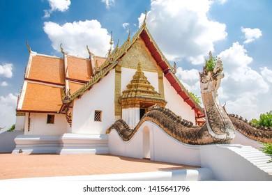 NAN, THAILAND - May 18, 2019: Beautiful of Lanna architecture at Wat Phumin, the famous ancient temple in Nan province, Nan, Thailand.
