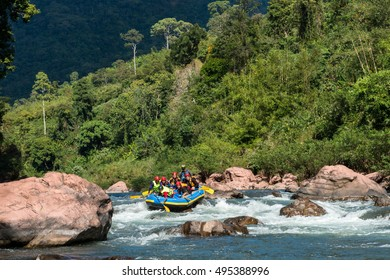NAN, THAILAND on October 22,2015 : White water rafting on the rapids of river mam va in NAN, Thailand. Mam Va river is one of the most dangerous rivers of Thailand.
