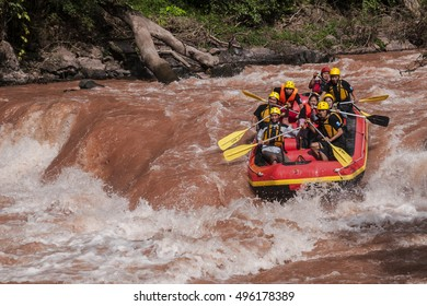 NAN, THAILAND on September 2,2015 : White water rafting on the rapids of river mam va in NAN, Thailand. Mam Va river is one of the most dangerous rivers of Thailand.