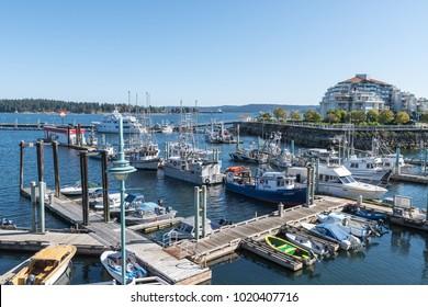 Nanaimo, Canada, September 29, 2016 - Yachts, pleasure and fishing boats docked at the marina in Nanaimo, Canada on Vancouver island on a sunny summer day.