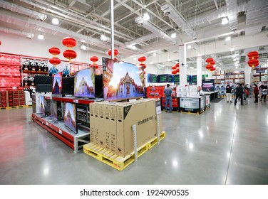 Nanchang, China - February 14, 2021: Chinese customers buy imported products from all over the world at a Walmart Sam's Club. Sam's is one of the largest members-only stores in the world.