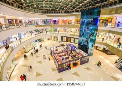 Nanchang, China - February 25, 2019: Consumers shop in Wanda Commercial Plaza. In the first two months of 2019, Chinese consumer prices (CPI) rose 1.6% year-on-year, a new low since February 2018.