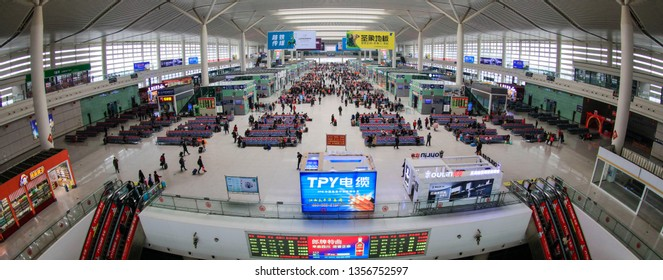 Nanchang, China - February 28, 2019: Waiting room of Nanchang West Railway Station. China Railway will implement a new train diagram from April 10, Xinhua News Agency reported.
