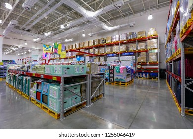 NANCHANG CHINA-August 28, 2018: China's 19th Sam Club opened in Nanchang. Interior of membership-only retail warehouse store called Sam's Club which sells items in wholesale and in bulk to members.