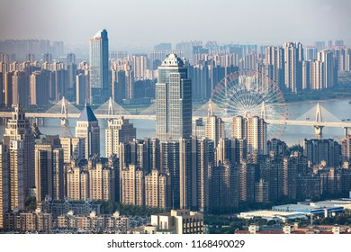 NANCHANG CHINA-August 31, 2018: a bird's eye view of Nanchang, a big city in China. Commercial complexes and residential buildings are densely packed. China's real estate bubble is huge.