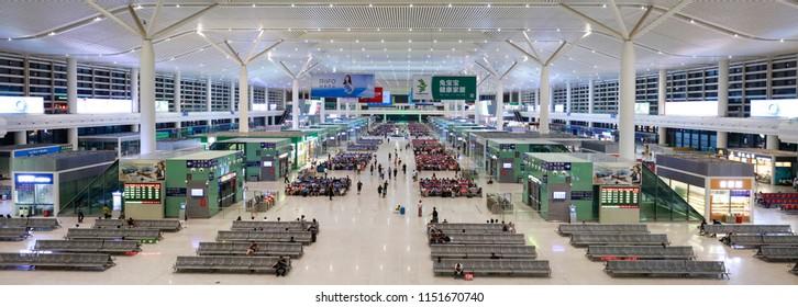NANCHANG CHINA-July 10, 2018: the high-speed rail hub of Nanchang west station in Jiangxi in the twilight.