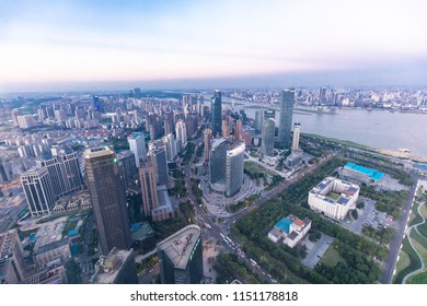 NANCHANG CHINA-July 18, 2018: Skyline, commercial and residential complex, birthplace of China's aviation industry and world photovoltaic industry base in Nanchang, central China.