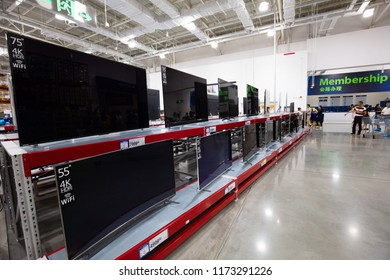 NANCHANG CHINA-September 6, 2018: Toshiba, Skyworth and Sony's large-screen 4K LCD TVs are on sale in a Sam member store of Wal-Mart, attracting consumers to buy them.