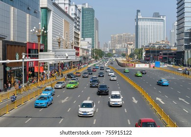 Nanchang, Jiangxi, China - October 24, 2017: There is always heavy traffic on Bayi Boulevard, the busiest street at Downtown Nanchang.