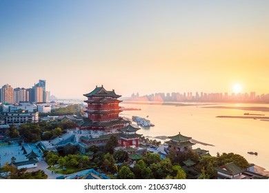 nanchang tengwang pavilion at dusk ,one of the four famous towers in south China.