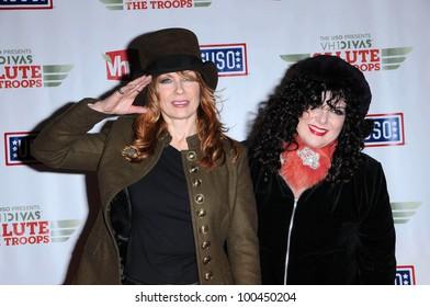 Nancy and Ann Wilson of Heart  at VH1 Divas Salute The Troops, Marine Corps Air Station Miramar, San Diego, CA. 12-03-10