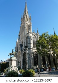 Nancy / France - 10.18.2014: The Church of Saint-Epvre and Monument to the Duke of Lorraine René II.