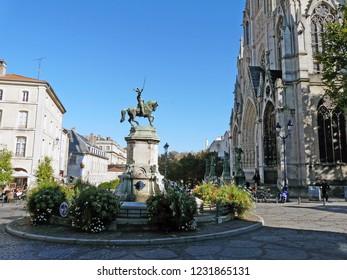 Nancy / France - 10.18.2014: Monument to the Duke of Lorraine René II near the Church Saint-Epvre.