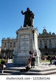 Nancy / France - 10.18.2014: Monument to the Duke of Lorraine and the Bar Stanislas Leschinsky.