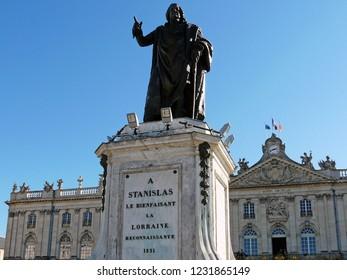 Nancy / France - 10.18.2014: Monument to Stanislas Leschinsky, Herzog Lorraine and bar.