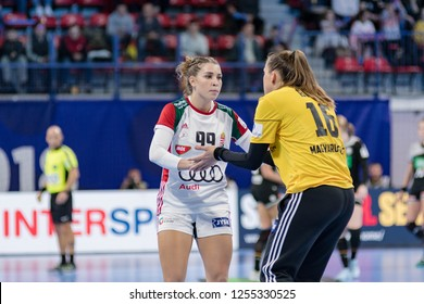 Nancy, France - December 09,2018: The handball player LAKATOS Rita and BIRO Blanka during the game between Hungary and Germany at Women's EHF EURO 2018 -  Main Roud.
