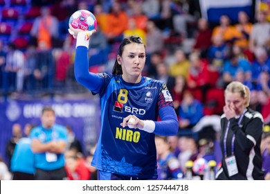 Nancy, France - December 09,2018: The handball player NEAGU Cristina during the game between Netherlands and Romania at Women's EHF EURO 2018 -  Main Round
