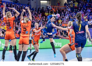 Nancy, France - December 10,2018: The handball player NEAGU Cristina Georgiana during the game between Netherlands and Romania at Women's EHF EURO 2018 -  Main Round.