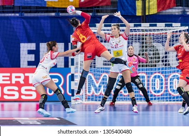 Nancy, France - December 11,2018: The handball player NEAGU Cristina during the game between Spain and Romania at Handball European Championship 2018 -  Main Round.