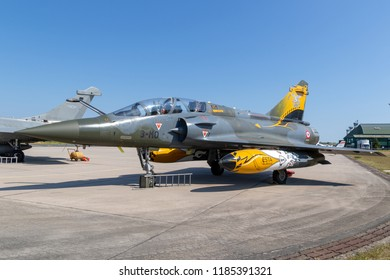 NANCY, FRANCE - JUL 1, 2018: French Air Force Dassault Mirage 2000 fighter jet on the tarmac of Nancy Airbase.
