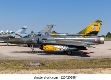 NANCY, FRANCE - JUL 1, 2018: French Air Force Dassault Mirage 2000 fighter jet aircraft on the tarmac of Nancy Airbase.