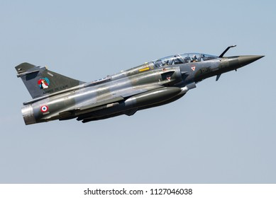 NANCY - FRANCE - JUNE 30: A Dassault Mirage 2000 fighter jet of the France Air Force during the Nancy Airshow 2018 on June 30, 2018 in Nancy, France.