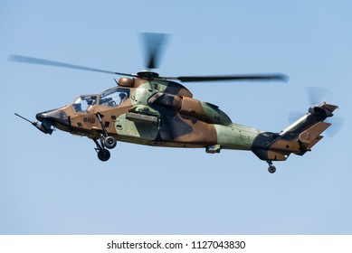 NANCY - FRANCE - JUNE 30: A Eurocopter Tigre attack helicopter of the French Army during the Nancy Airshow 2018 on June 30, 2018 in Nancy, France.