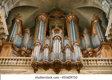 Nancy, France - October 9, 2015: Pipe organ in the cathedral of Nancy