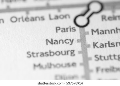 Nancy, France on a geographical map.